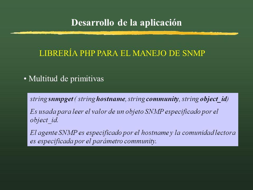 Desarrollo de la aplicación LIBRERÍA PHP PARA EL MANEJO DE SNMP Multitud de primitivas string snmpget ( string hostname, string community, string obje
