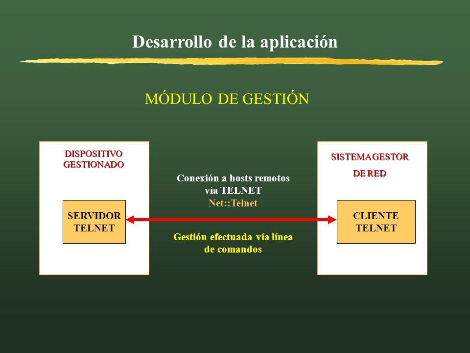 Desarrollo de la aplicación DISPOSITIVO GESTIONADO SISTEMA GESTOR SISTEMA GESTOR DE RED DE RED SERVIDOR TELNET CLIENTE TELNET Conexión a hosts remotos