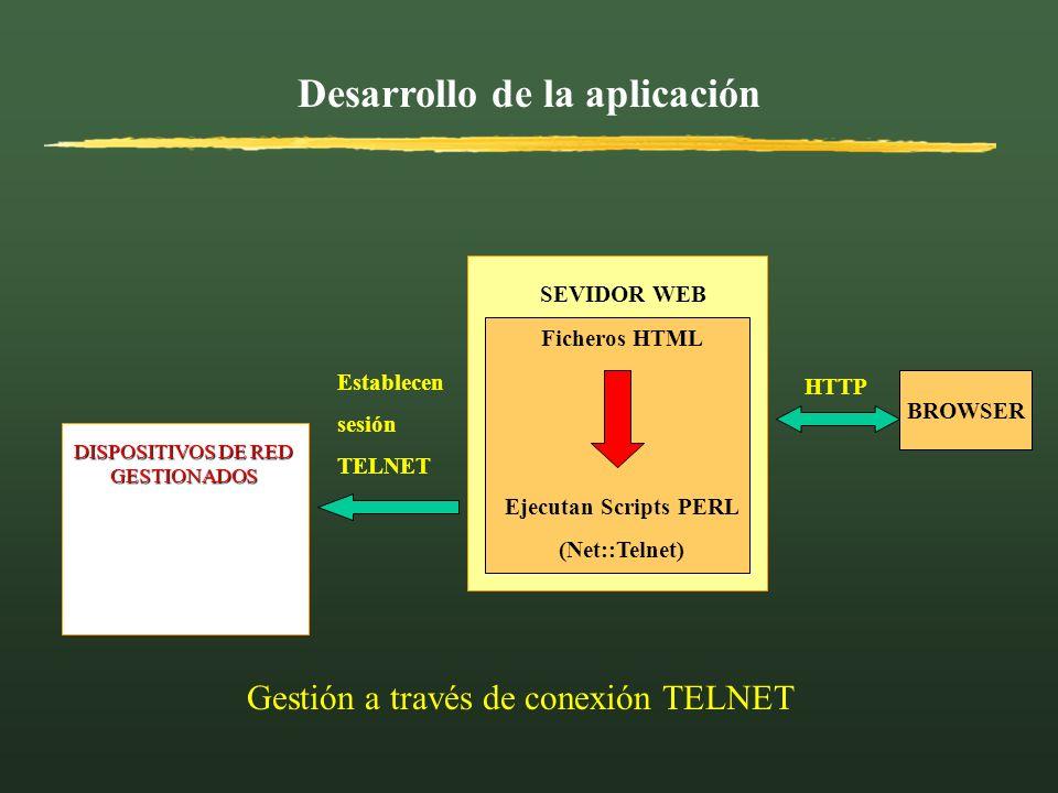 Desarrollo de la aplicación BROWSER HTTP DISPOSITIVOS DE RED GESTIONADOS Ficheros HTML Ejecutan Scripts PERL (Net::Telnet) SEVIDOR WEB Establecen sesi