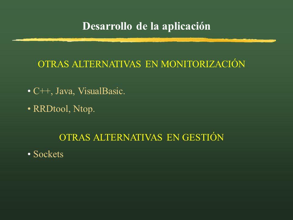 Desarrollo de la aplicación OTRAS ALTERNATIVAS EN MONITORIZACIÓN C++, Java, VisualBasic. RRDtool, Ntop. OTRAS ALTERNATIVAS EN GESTIÓN Sockets