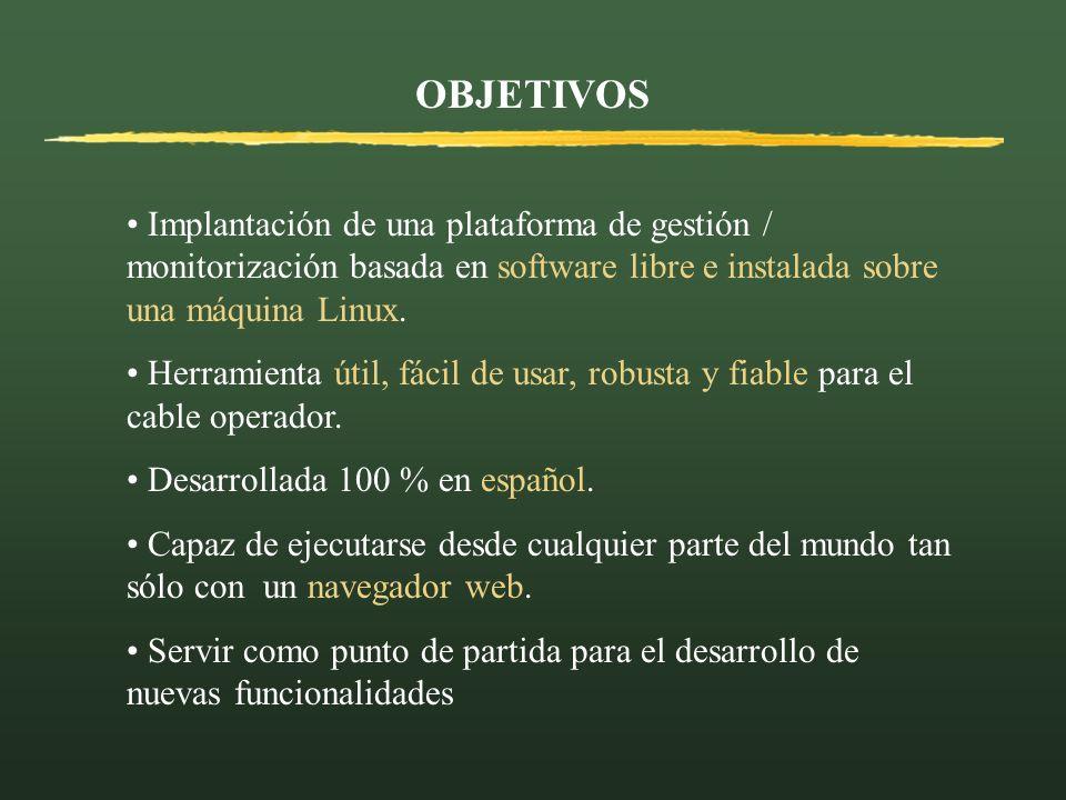OBJETIVOS Implantación de una plataforma de gestión / monitorización basada en software libre e instalada sobre una máquina Linux. Herramienta útil, f