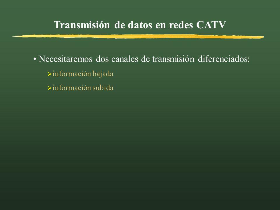 Transmisión de datos en redes CATV INFORMACIÓN BAJADA Canal TV 8 MHz ó 6 MHz la banda alta de frecuencias Velocidades de hasta 55 Mbps INFORMACIÓN SUBIDA Canal de diversas anchuras (3.2 KHz) frecuencias más bajas Velocidades de hasta 10 Mbps