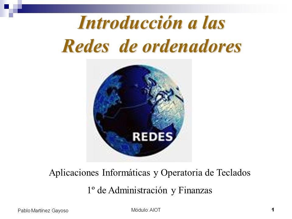 Módulo: AIOT1 Pablo Martínez Gayoso Introducción a las Redes de ordenadores Aplicaciones Informáticas y Operatoria de Teclados 1º de Administración y