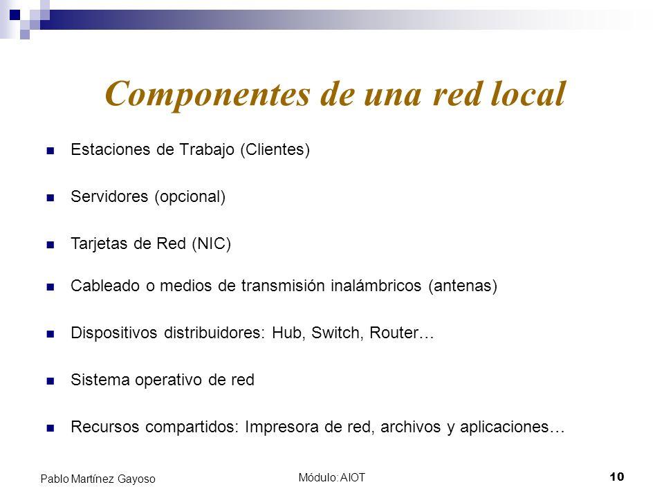 Módulo: AIOT10 Pablo Martínez Gayoso Estaciones de Trabajo (Clientes) Componentes de una red local Servidores (opcional) Tarjetas de Red (NIC) Cablead