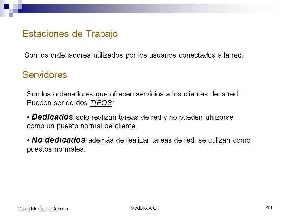 Módulo: AIOT11 Pablo Martínez Gayoso Estaciones de Trabajo Servidores Son los ordenadores utilizados por los usuarios conectados a la red. Son los ord