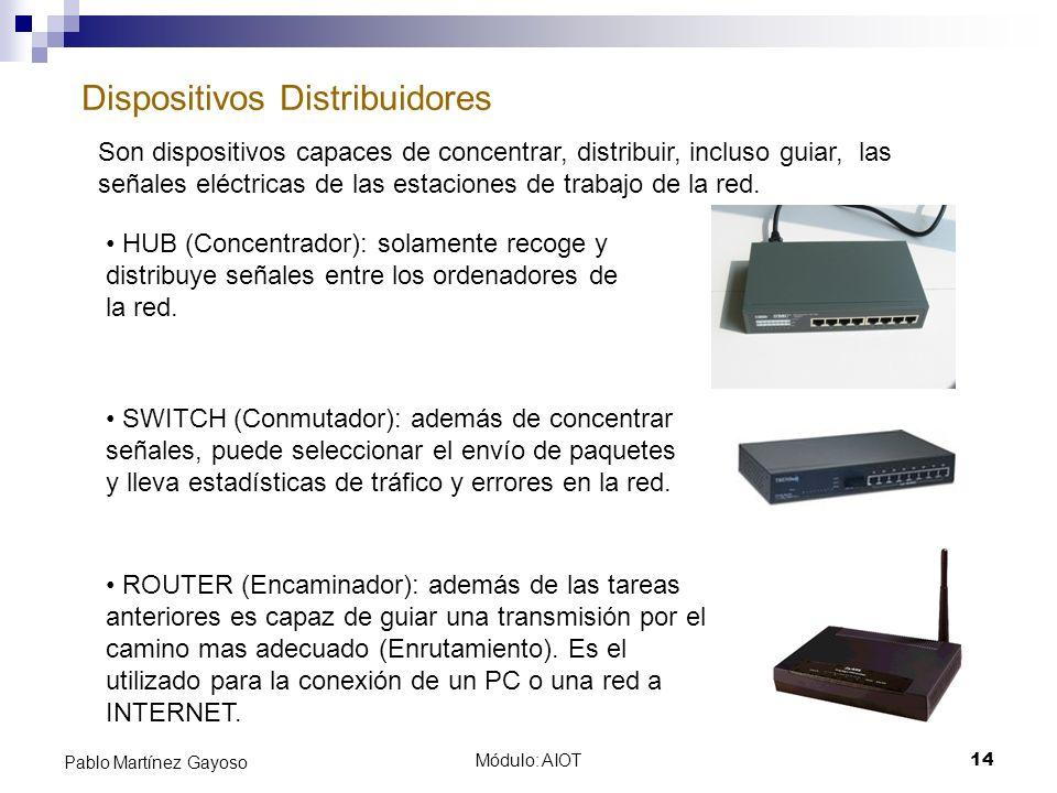 Módulo: AIOT14 Pablo Martínez Gayoso Dispositivos Distribuidores Son dispositivos capaces de concentrar, distribuir, incluso guiar, las señales eléctr