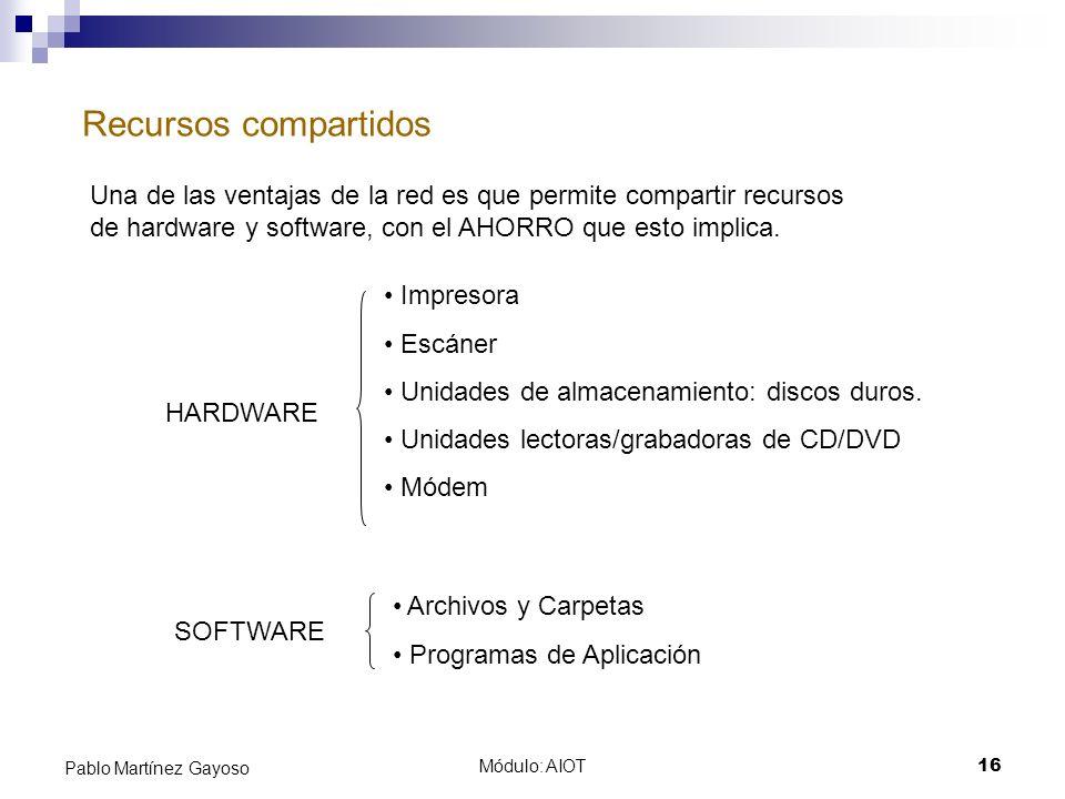 Módulo: AIOT16 Pablo Martínez Gayoso Recursos compartidos Una de las ventajas de la red es que permite compartir recursos de hardware y software, con