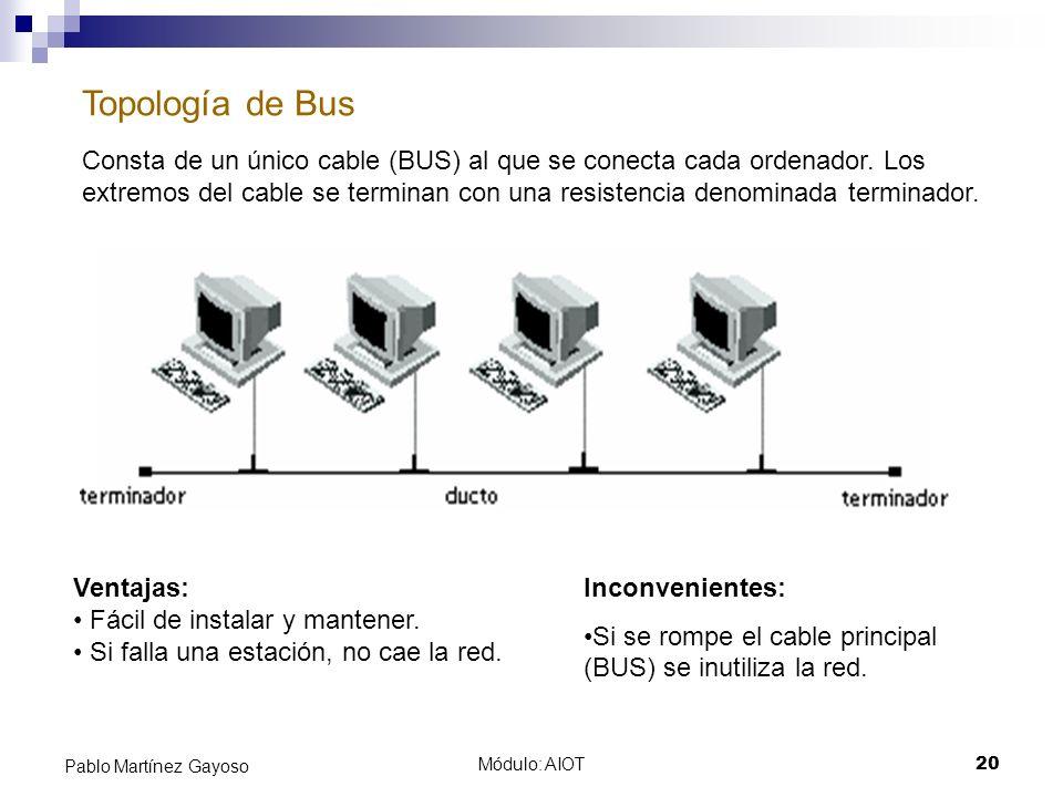 Módulo: AIOT20 Pablo Martínez Gayoso Topología de Bus Consta de un único cable (BUS) al que se conecta cada ordenador. Los extremos del cable se termi
