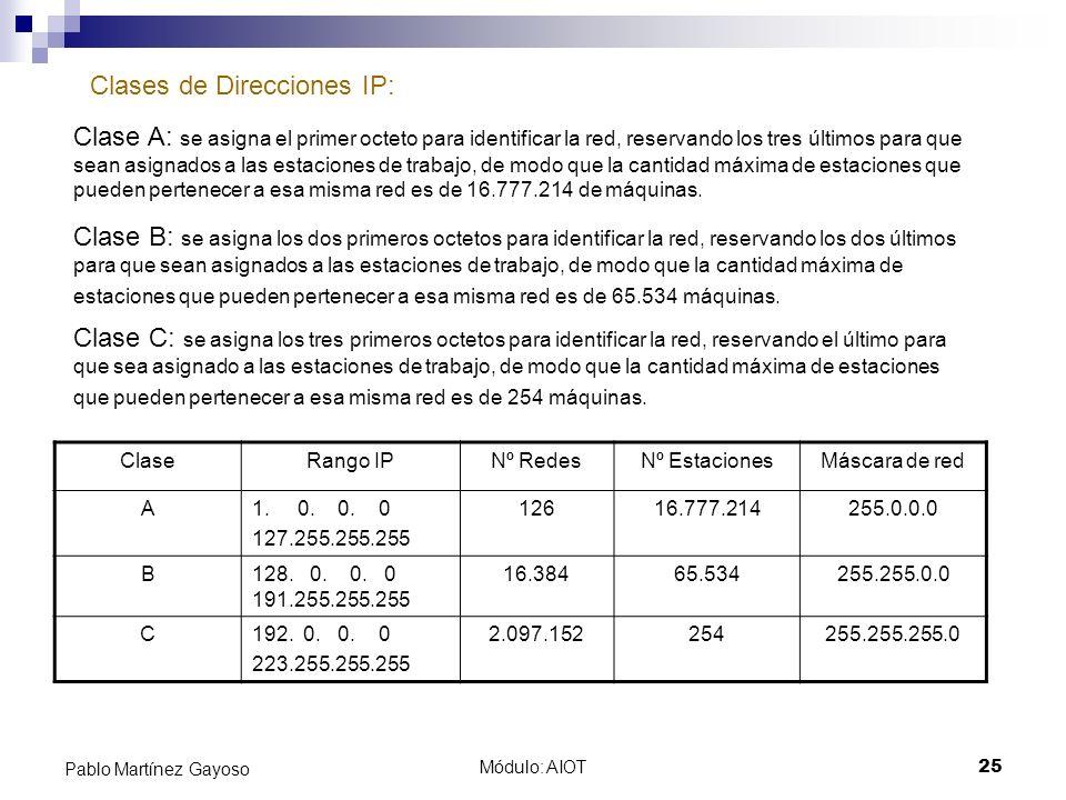 Módulo: AIOT25 Pablo Martínez Gayoso Clases de Direcciones IP: Clase A: se asigna el primer octeto para identificar la red, reservando los tres último