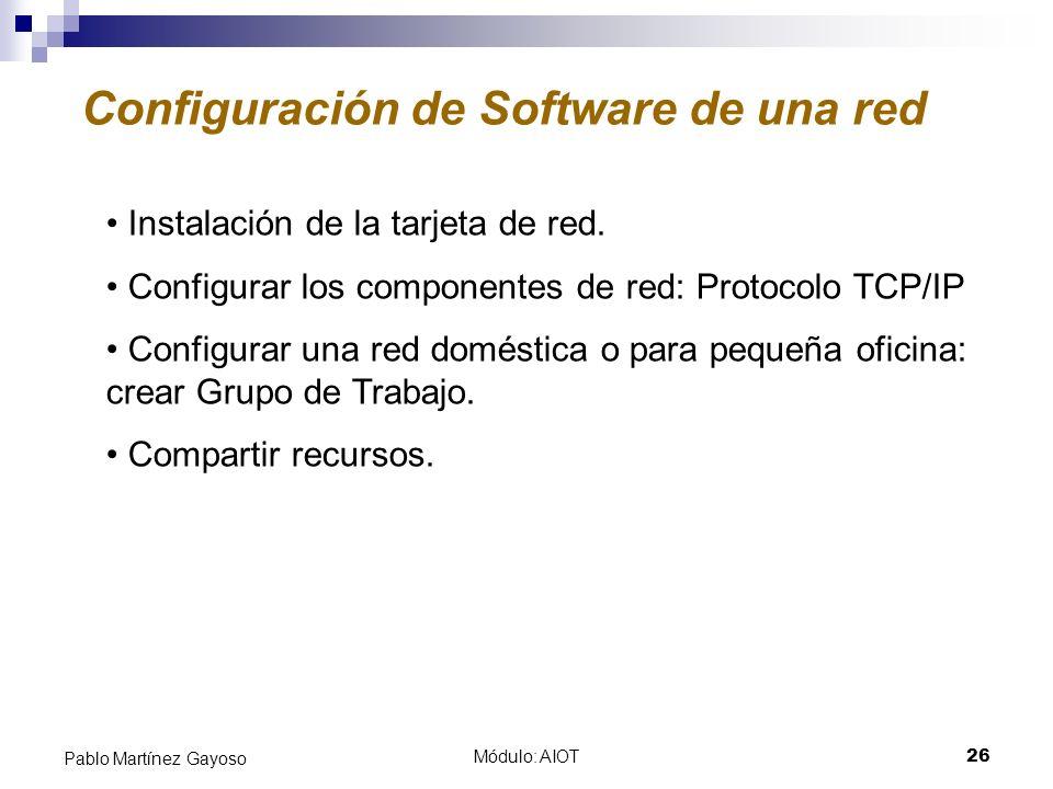 Módulo: AIOT26 Pablo Martínez Gayoso Configuración de Software de una red Instalación de la tarjeta de red. Configurar los componentes de red: Protoco