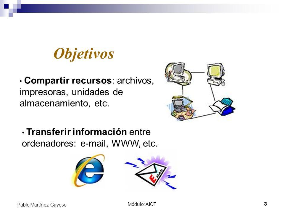 Módulo: AIOT3 Pablo Martínez Gayoso Objetivos Compartir recursos: archivos, impresoras, unidades de almacenamiento, etc. Transferir información entre