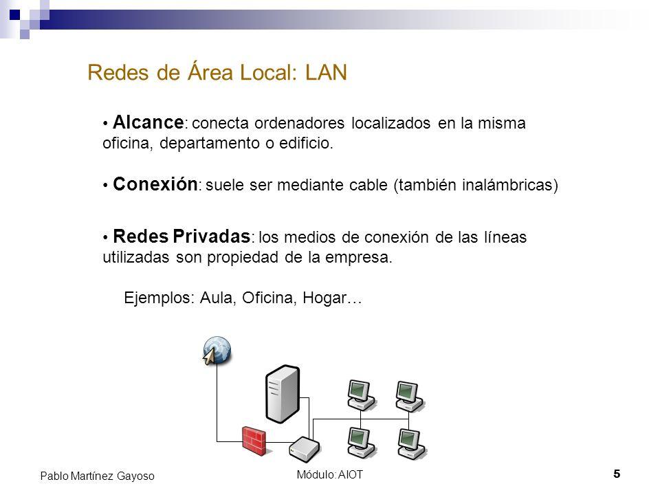 Módulo: AIOT5 Pablo Martínez Gayoso Redes de Área Local: LAN Alcance : conecta ordenadores localizados en la misma oficina, departamento o edificio. C
