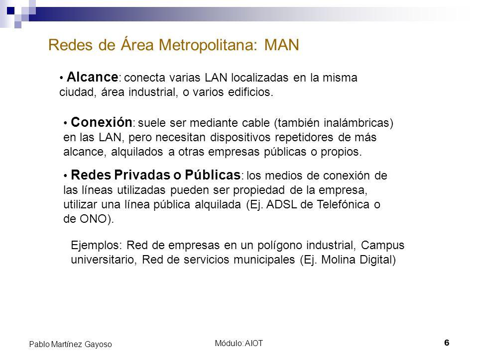 Módulo: AIOT6 Pablo Martínez Gayoso Redes de Área Metropolitana: MAN Alcance : conecta varias LAN localizadas en la misma ciudad, área industrial, o v