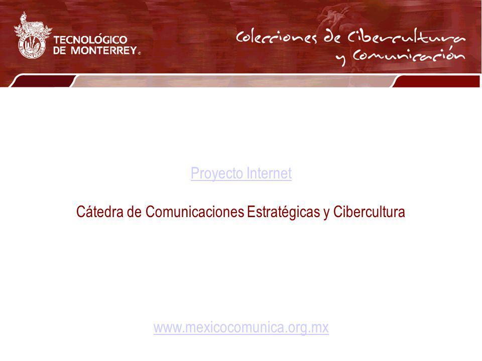 Proyecto Internet Cátedra de Comunicaciones Estratégicas y Cibercultura www.mexicocomunica.org.mx