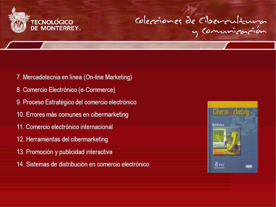 7. Mercadotecnia en línea (On-line Marketing) 8. Comercio Electrónico (e-Commerce) 9. Proceso Estratégico del comercio electrónico 10. Errores más com