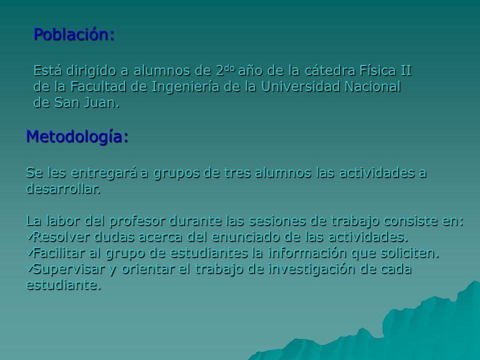 Población: Está dirigido a alumnos de 2 do año de la cátedra Física II de la Facultad de Ingeniería de la Universidad Nacional de San Juan. Metodologí