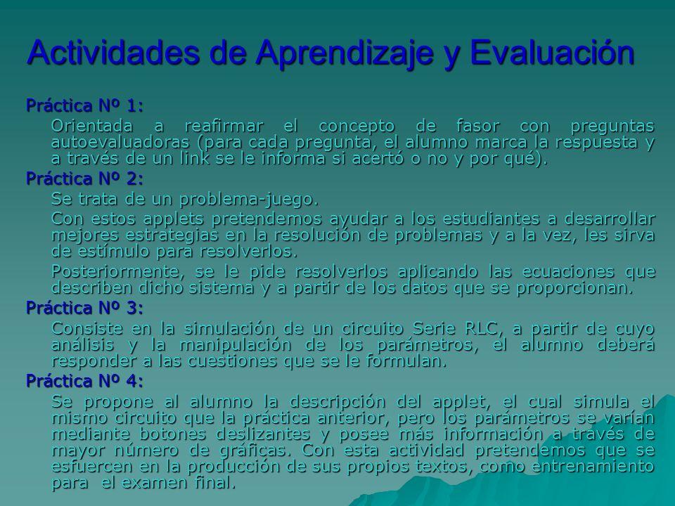 Actividades de Aprendizaje y Evaluación Práctica Nº 1: Orientada a reafirmar el concepto de fasor con preguntas autoevaluadoras (para cada pregunta, e