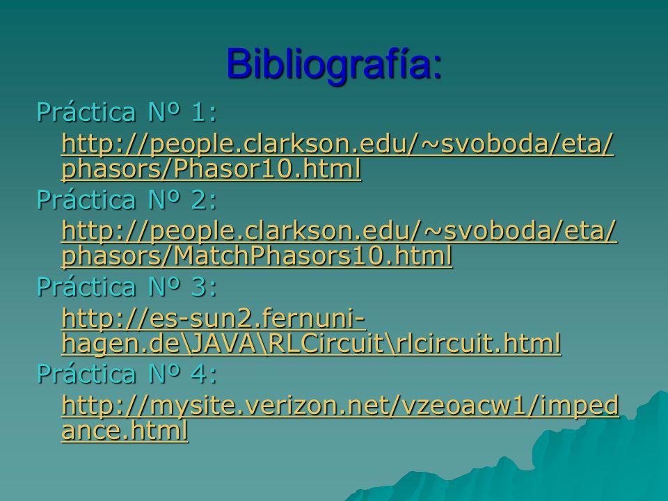 Bibliografía: Práctica Nº 1: http://people.clarkson.edu/~svoboda/eta/ phasors/Phasor10.html http://people.clarkson.edu/~svoboda/eta/ phasors/Phasor10.