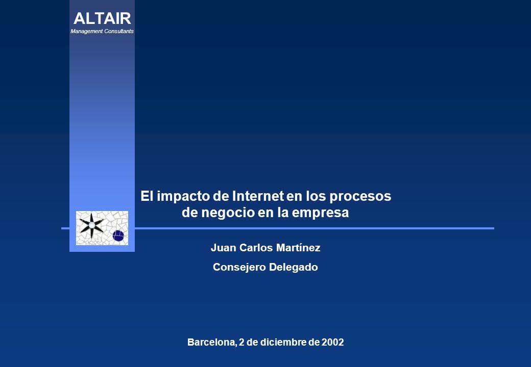 ALTAIR Management Consultants El impacto de Internet en los procesos de negocio en la empresa Barcelona, 2 de diciembre de 2002 Juan Carlos Martínez Consejero Delegado