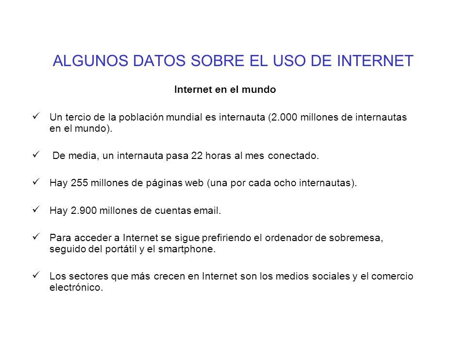 ALGUNOS DATOS SOBRE EL USO DE INTERNET Internet en el mundo Un tercio de la población mundial es internauta (2.000 millones de internautas en el mundo).