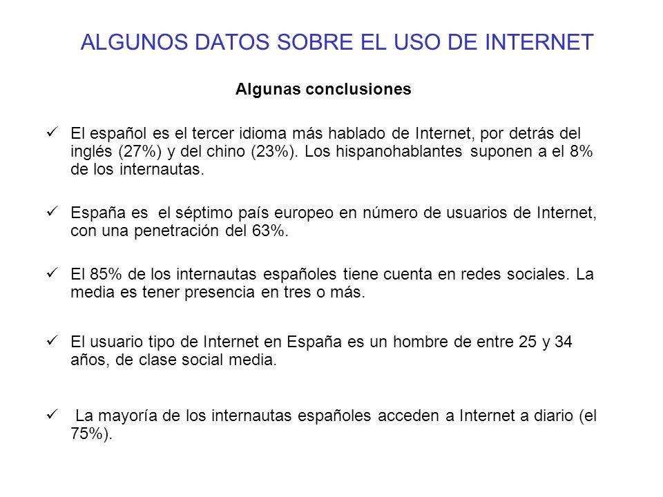 ALGUNOS DATOS SOBRE EL USO DE INTERNET Algunas conclusiones El español es el tercer idioma más hablado de Internet, por detrás del inglés (27%) y del chino (23%).