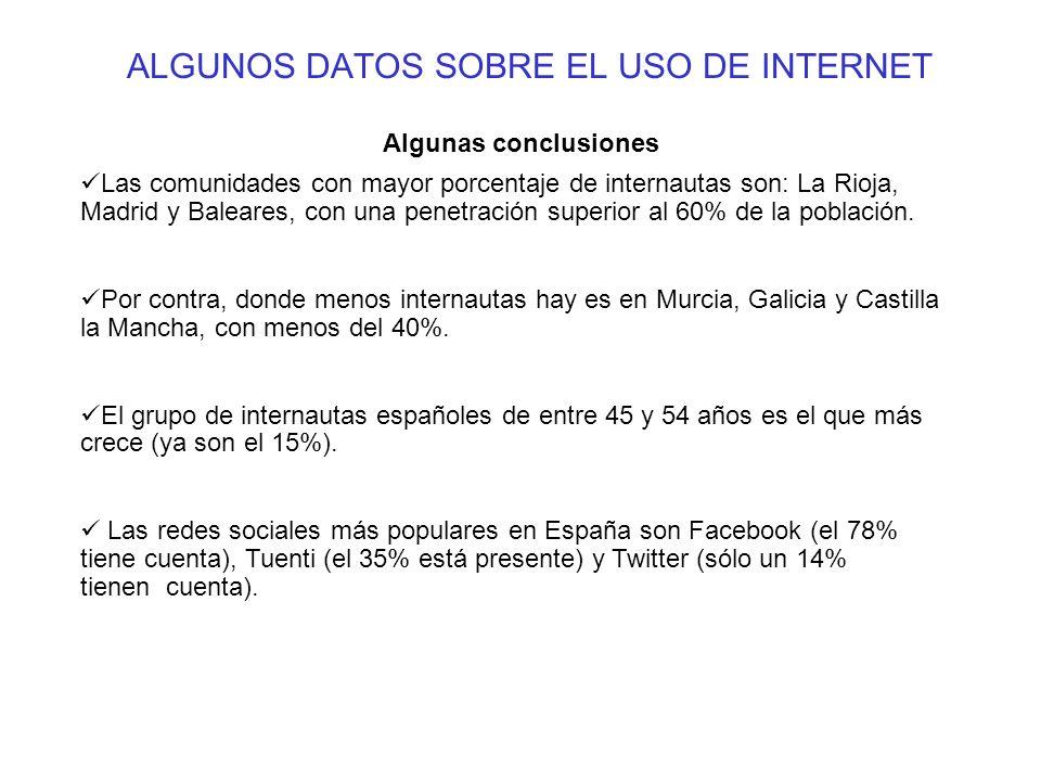 ALGUNOS DATOS SOBRE EL USO DE INTERNET Algunas conclusiones Las comunidades con mayor porcentaje de internautas son: La Rioja, Madrid y Baleares, con una penetración superior al 60% de la población.