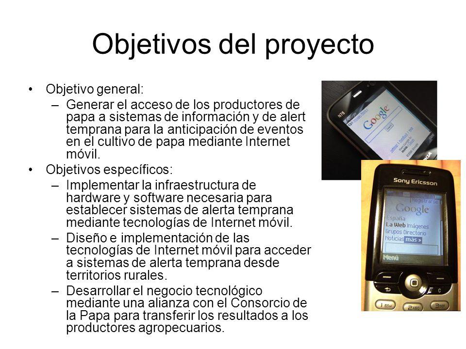 Objetivos del proyecto Objetivo general: –Generar el acceso de los productores de papa a sistemas de información y de alerta temprana para la anticipa