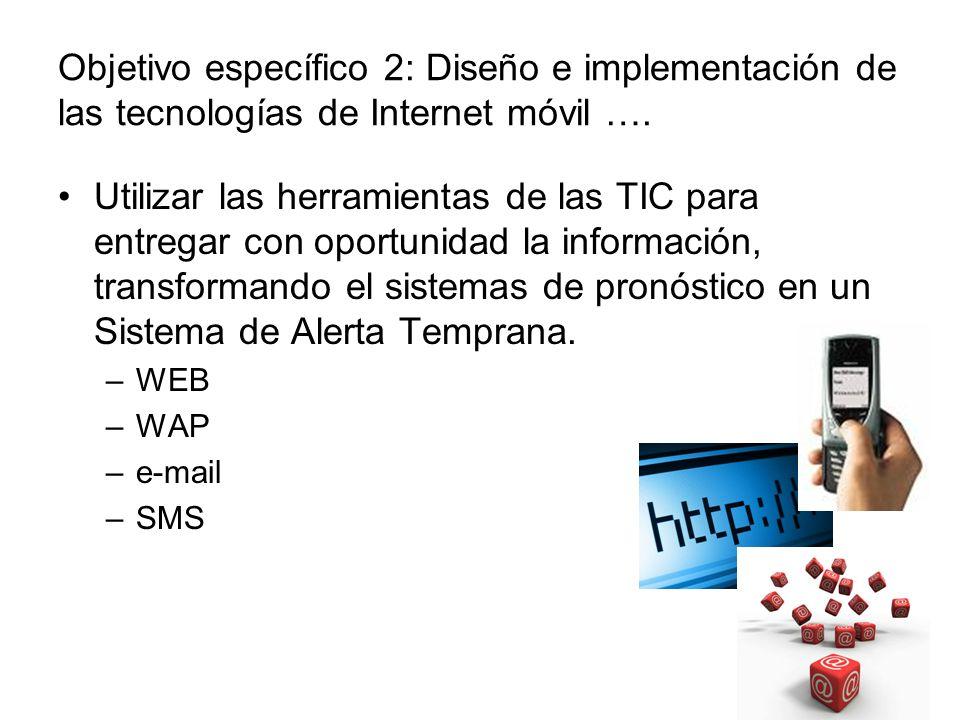 Objetivo específico 2: Diseño e implementación de las tecnologías de Internet móvil …. Utilizar las herramientas de las TIC para entregar con oportuni