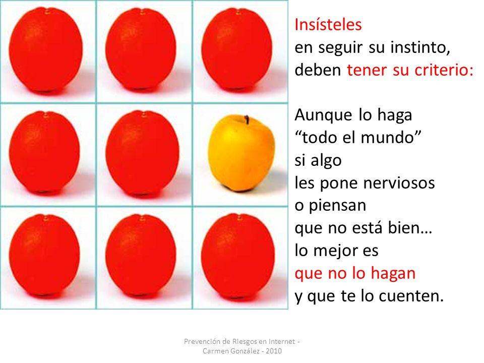 Prevención de Riesgos en Internet - Carmen González - 2010 Insísteles en seguir su instinto, deben tener su criterio: Aunque lo haga todo el mundo si