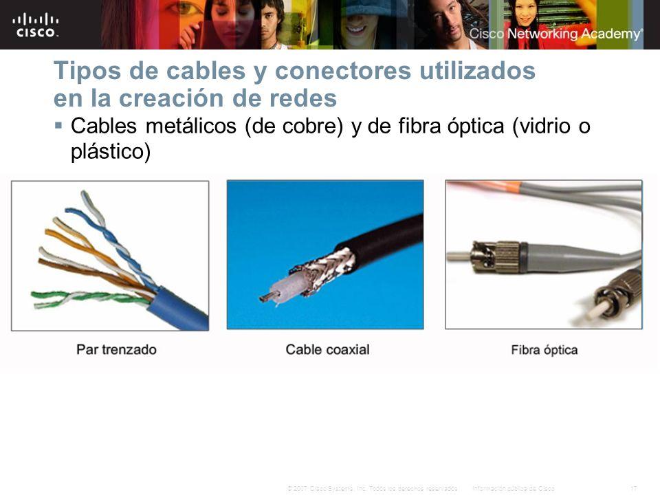 17Información pública de Cisco© 2007 Cisco Systems, Inc. Todos los derechos reservados. Tipos de cables y conectores utilizados en la creación de rede