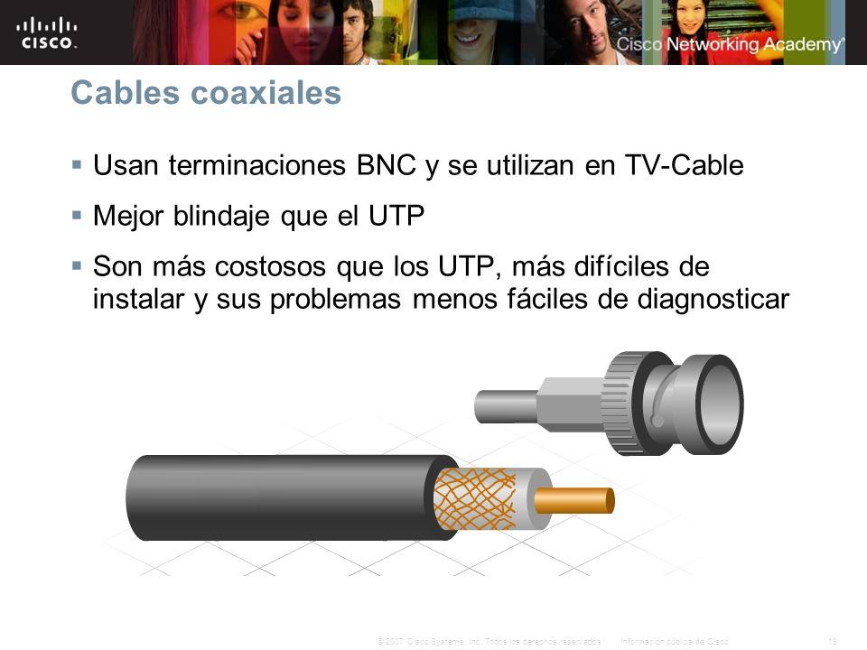 19Información pública de Cisco© 2007 Cisco Systems, Inc. Todos los derechos reservados. Cables coaxiales Usan terminaciones BNC y se utilizan en TV-Ca