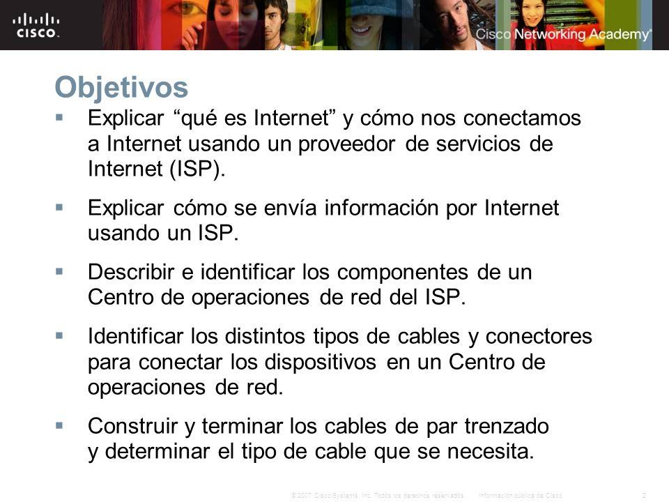 2Información pública de Cisco© 2007 Cisco Systems, Inc. Todos los derechos reservados. Objetivos Explicar qué es Internet y cómo nos conectamos a Inte
