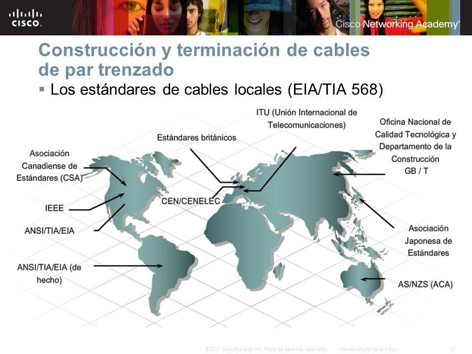 21Información pública de Cisco© 2007 Cisco Systems, Inc. Todos los derechos reservados. Construcción y terminación de cables de par trenzado Los están