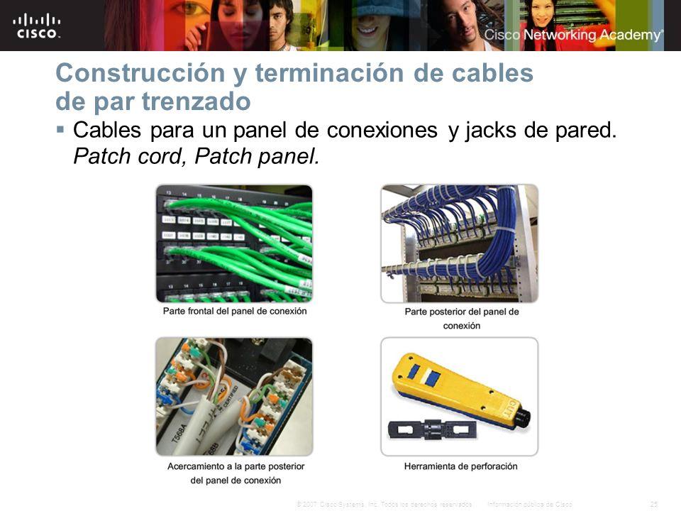 25Información pública de Cisco© 2007 Cisco Systems, Inc. Todos los derechos reservados. Construcción y terminación de cables de par trenzado Cables pa