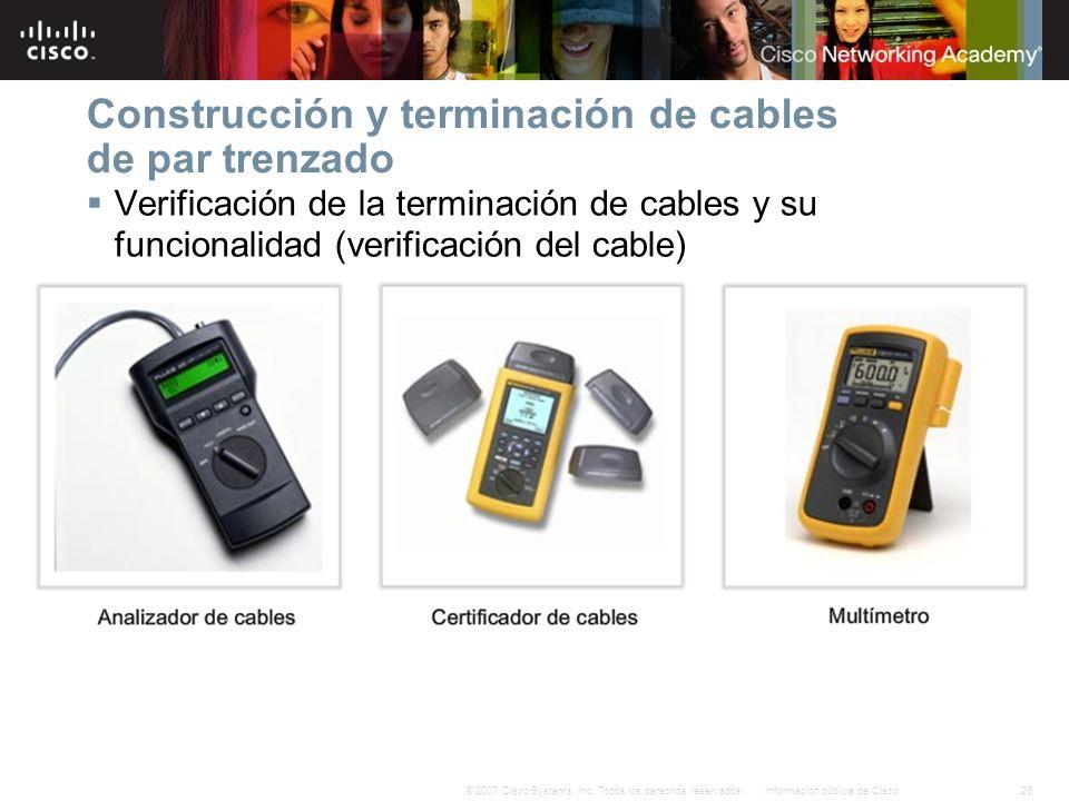 26Información pública de Cisco© 2007 Cisco Systems, Inc. Todos los derechos reservados. Construcción y terminación de cables de par trenzado Verificac