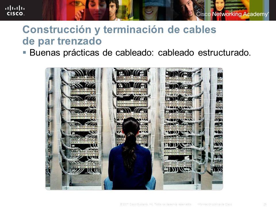 29Información pública de Cisco© 2007 Cisco Systems, Inc. Todos los derechos reservados. Construcción y terminación de cables de par trenzado Buenas pr