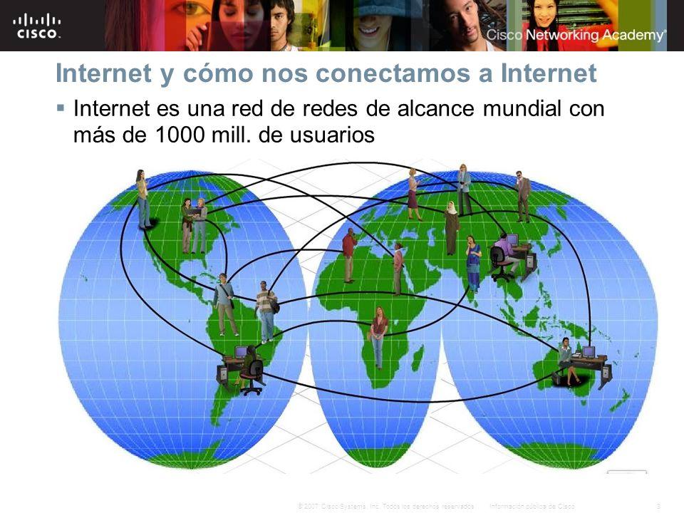 3Información pública de Cisco© 2007 Cisco Systems, Inc. Todos los derechos reservados. Internet y cómo nos conectamos a Internet Internet es una red d