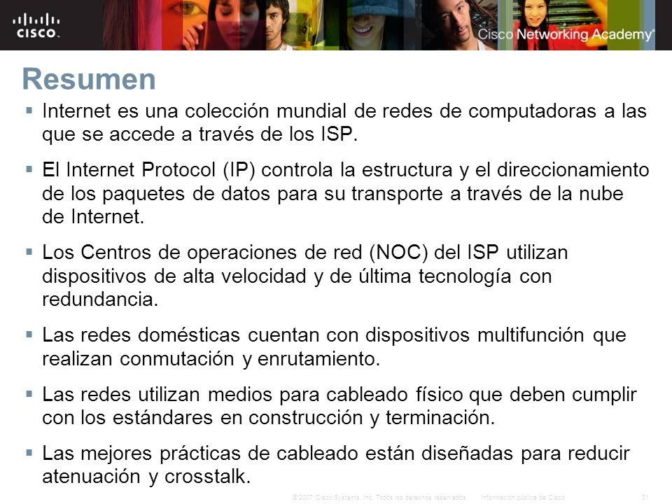 31Información pública de Cisco© 2007 Cisco Systems, Inc. Todos los derechos reservados. Resumen Internet es una colección mundial de redes de computad