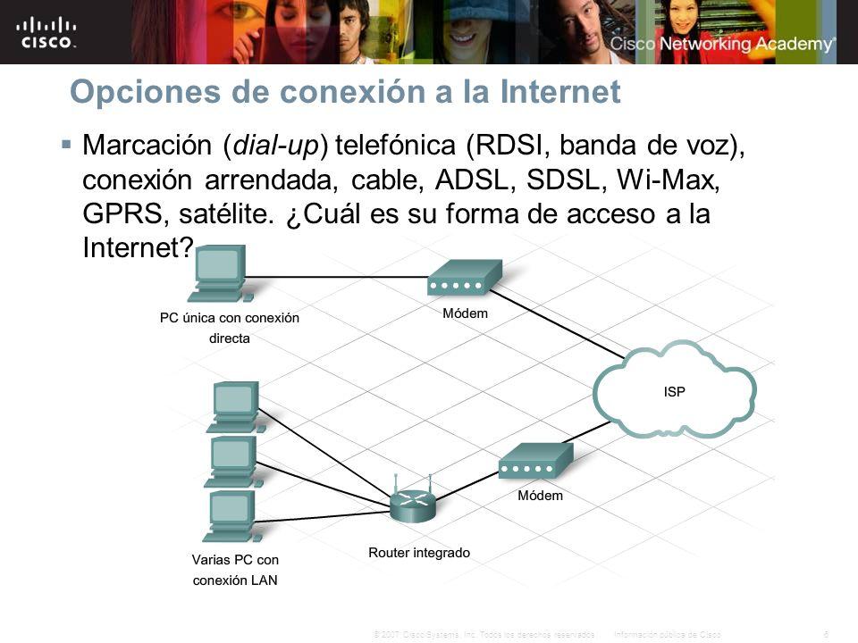 6Información pública de Cisco© 2007 Cisco Systems, Inc. Todos los derechos reservados. Opciones de conexión a la Internet Marcación (dial-up) telefóni