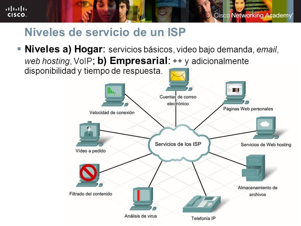 7Información pública de Cisco© 2007 Cisco Systems, Inc. Todos los derechos reservados. Niveles de servicio de un ISP Niveles a) Hogar: servicios básic
