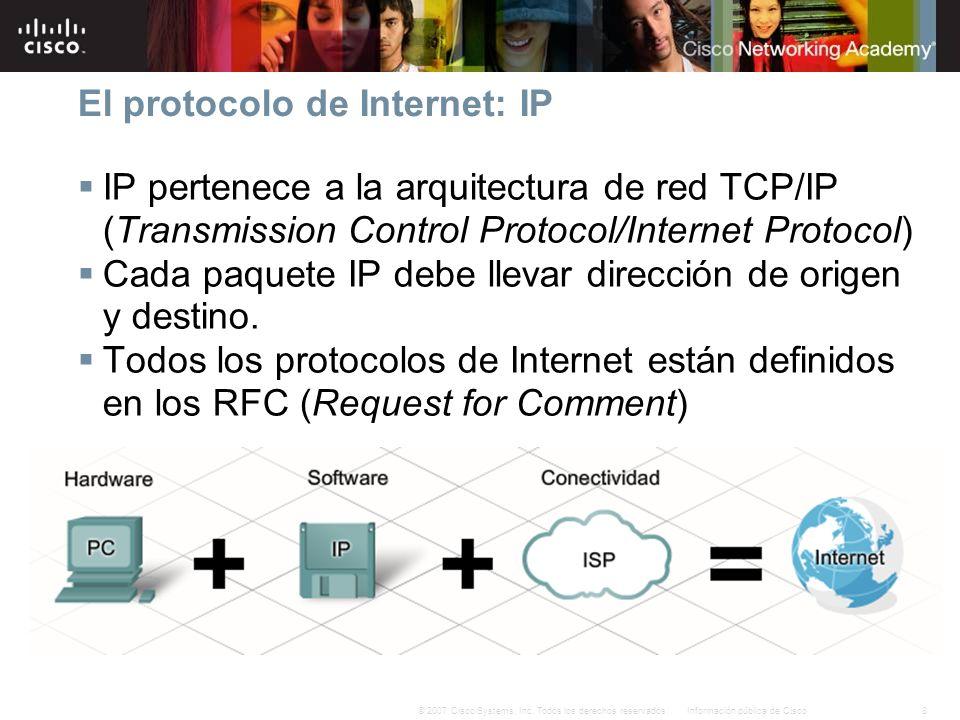 8Información pública de Cisco© 2007 Cisco Systems, Inc. Todos los derechos reservados. El protocolo de Internet: IP IP pertenece a la arquitectura de