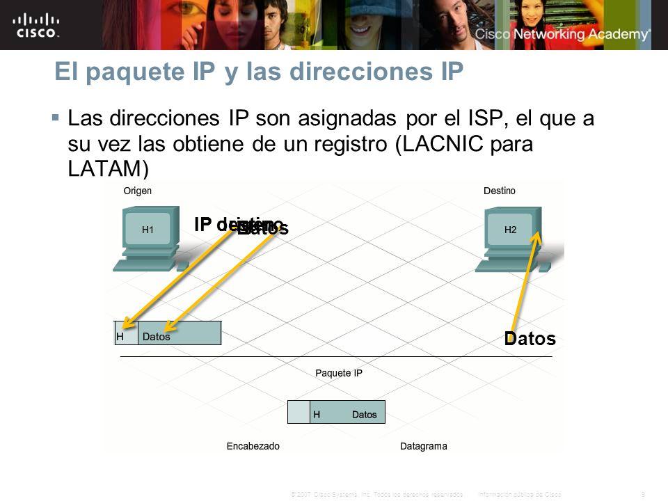 9Información pública de Cisco© 2007 Cisco Systems, Inc. Todos los derechos reservados. El paquete IP y las direcciones IP Las direcciones IP son asign