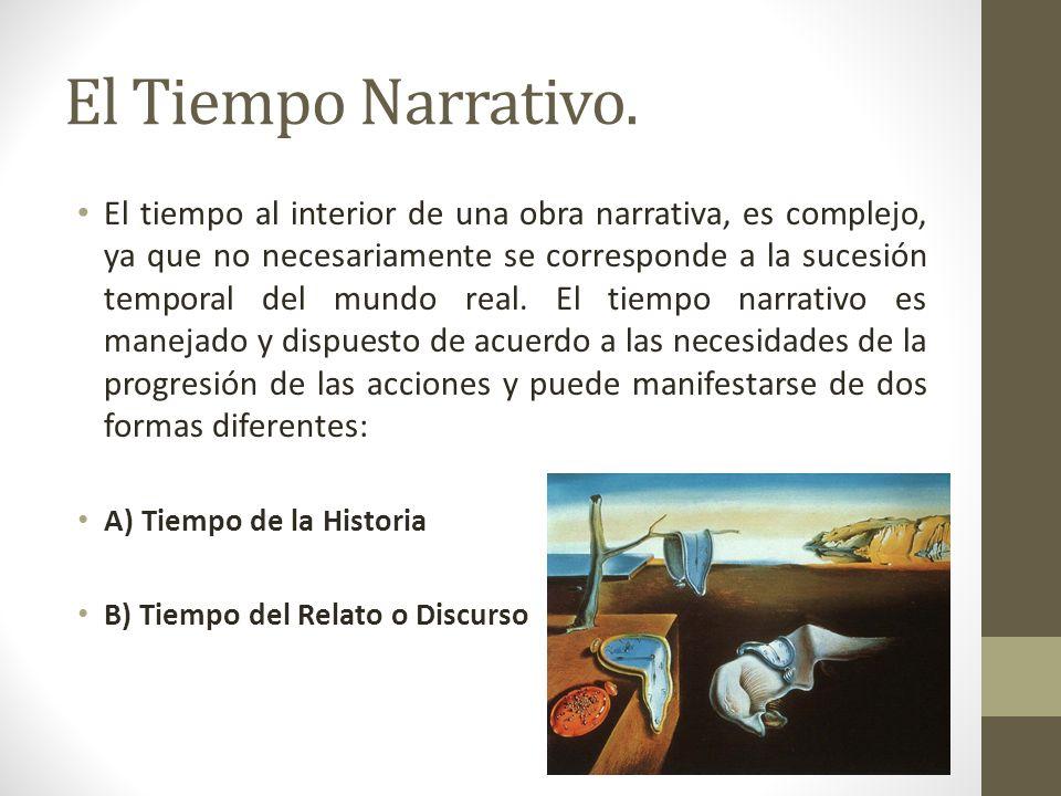 El Tiempo Narrativo. El tiempo al interior de una obra narrativa, es complejo, ya que no necesariamente se corresponde a la sucesión temporal del mund