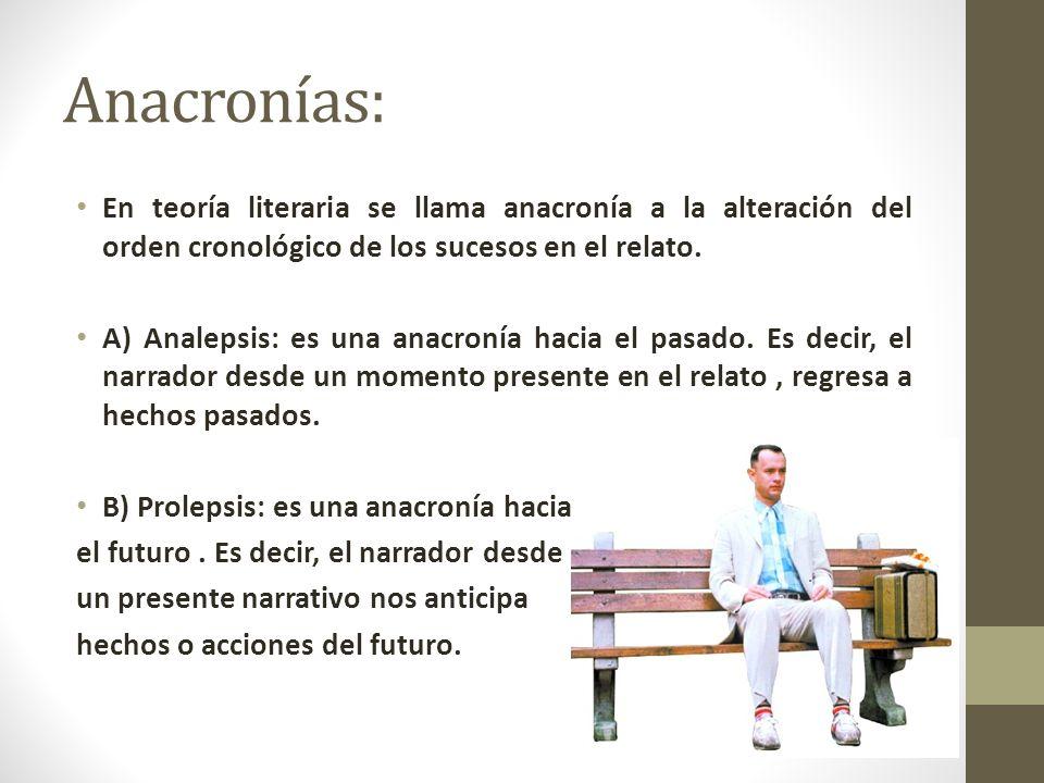 Anacronías: En teoría literaria se llama anacronía a la alteración del orden cronológico de los sucesos en el relato. A) Analepsis: es una anacronía h