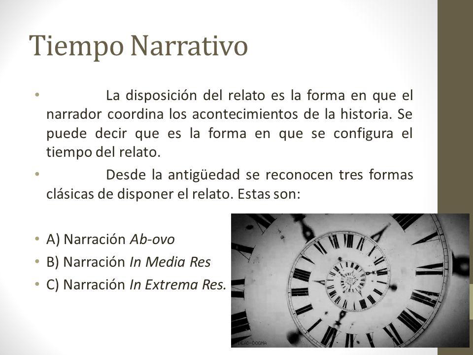 Tiempo Narrativo La disposición del relato es la forma en que el narrador coordina los acontecimientos de la historia. Se puede decir que es la forma