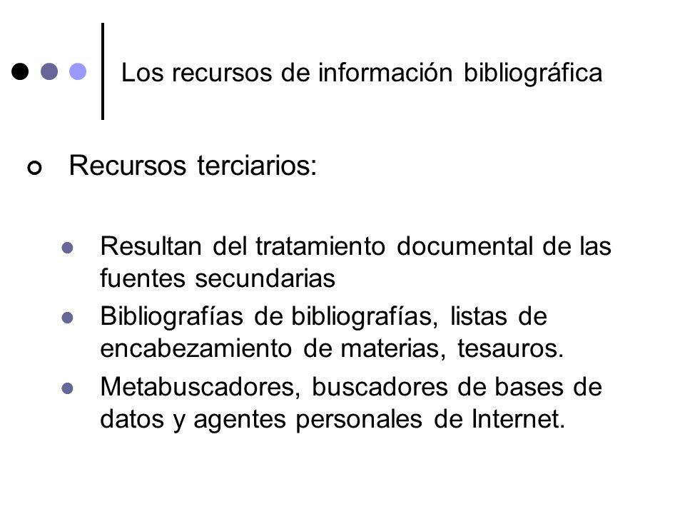 Los recursos de información bibliográfica Recursos terciarios: Resultan del tratamiento documental de las fuentes secundarias Bibliografías de bibliog