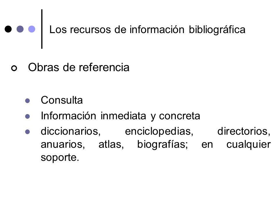 Los recursos de información bibliográfica Obras de referencia Consulta Información inmediata y concreta diccionarios, enciclopedias, directorios, anua