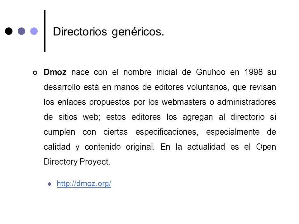 Directorios genéricos. Dmoz nace con el nombre inicial de Gnuhoo en 1998 su desarrollo está en manos de editores voluntarios, que revisan los enlaces