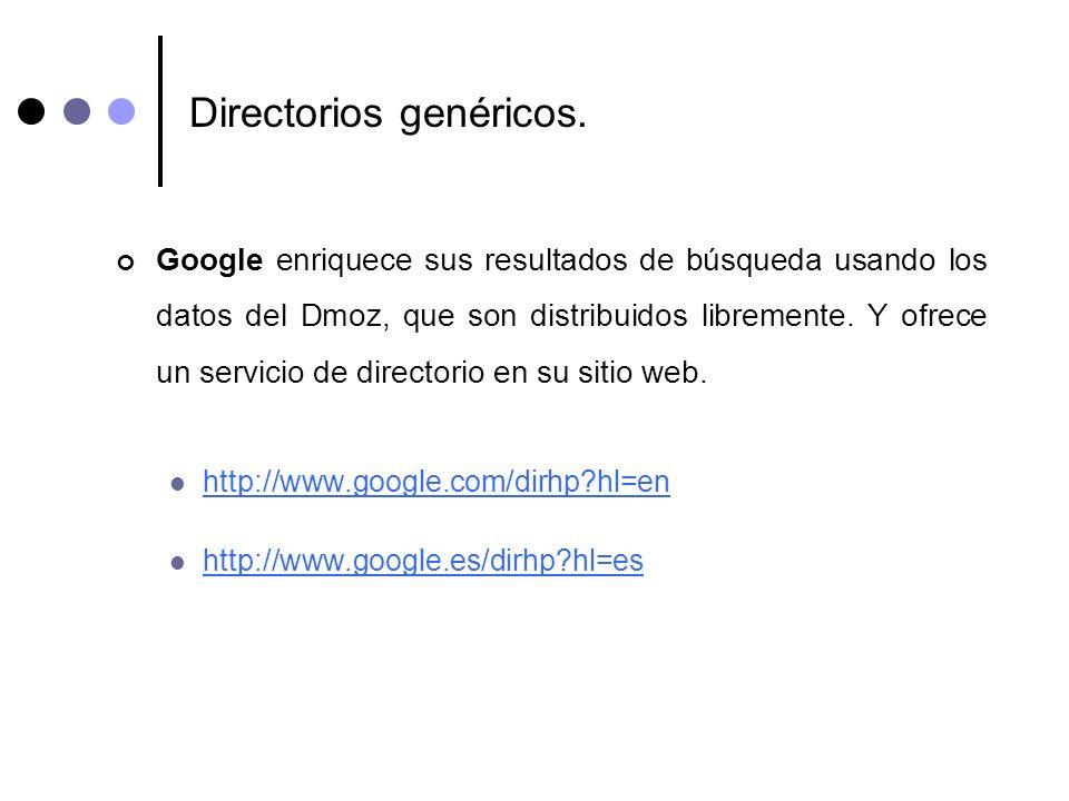 Directorios genéricos. Google enriquece sus resultados de búsqueda usando los datos del Dmoz, que son distribuidos libremente. Y ofrece un servicio de
