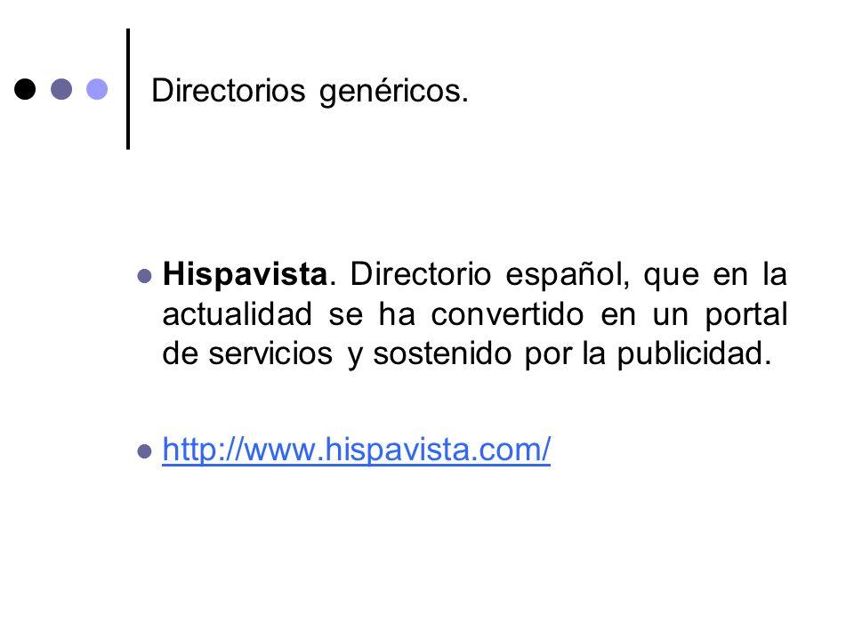 Directorios genéricos. Hispavista. Directorio español, que en la actualidad se ha convertido en un portal de servicios y sostenido por la publicidad.